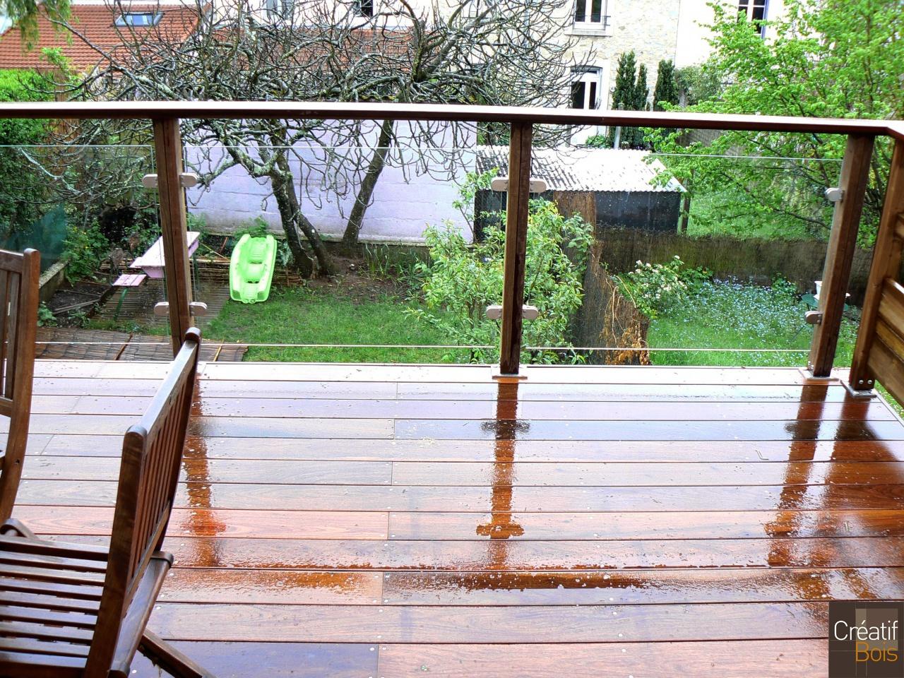 87 limoges garde corps bois verre garde corps galerie - Rambarde de terrasse en bois ...