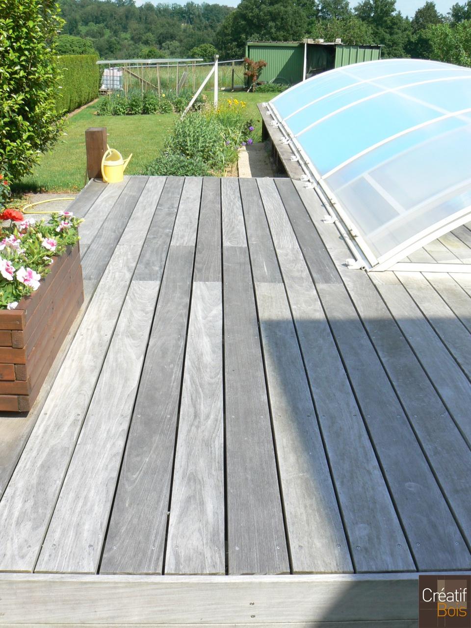 Haute vienne 87 rilhac rancon terrasse bois possible for Piscine bois avec escalier