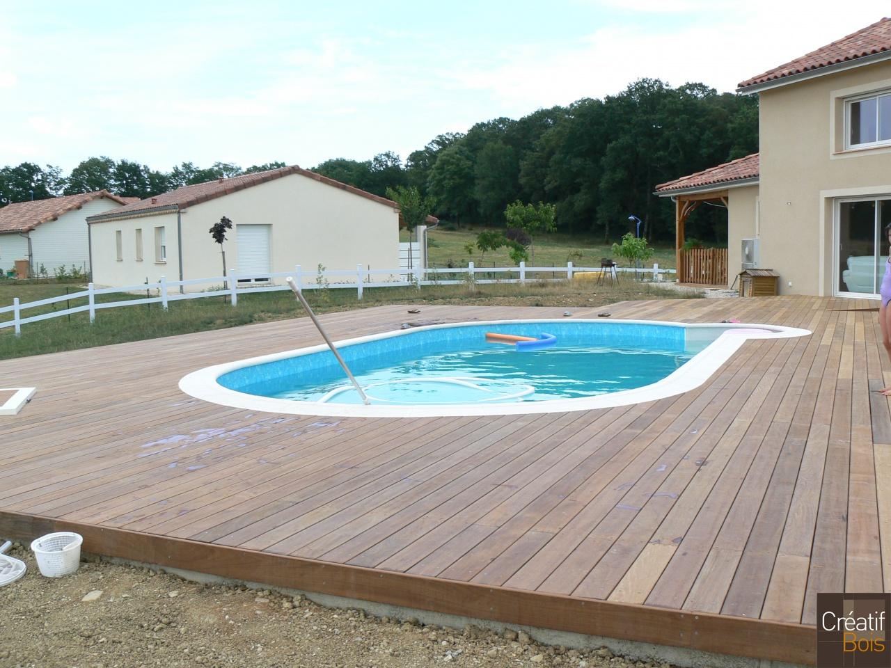 Piscine Bois Avec Terrasse plage de piscine alvignac - lot 46